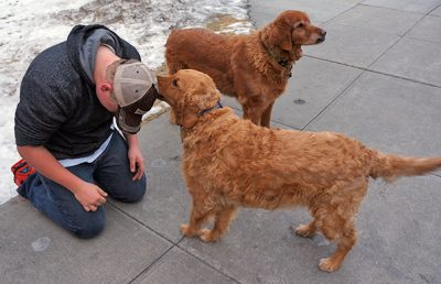 The Ranch's golden retrievers, Jake and Emmy Lou, are certified pet therapy animals through the Delta Society.