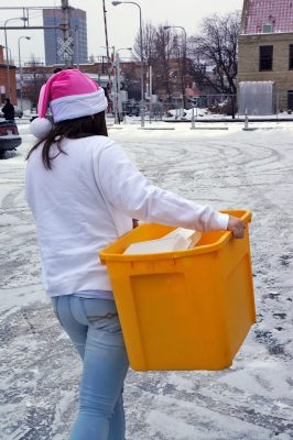 A YBGR youth hauled meals on Christmas Day in 2015.